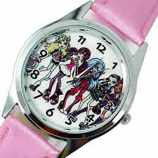 NEW MONSTER HIGH DOLLS PINK LEATHER FILM MOVIE GIRL FAIRY TALE STEEL WATCH UK W1