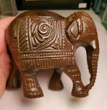 "Elephant Metal Figurine Tealight Holder Collectible 4 X 4.5"" Brown"