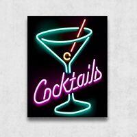 Cocktails néon - Pimplate métal 35x28cm deco café bar restaurant brasserie pub