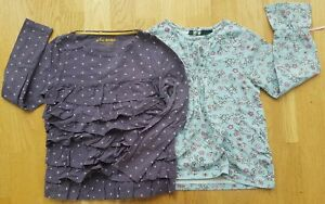 Mini Boden 7-8 yrs girls blue immaculate t-shirt ruffle set tops stars floral