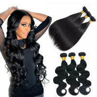 100% Brazilian Unprocessed Virgin Human Hair Extensions Bundles Weave Wefts US