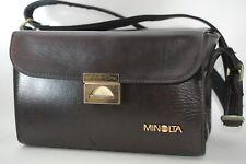 Vintage MINOLTA Original Camera Hard Case Brown w/Adjustable Strap from Japan