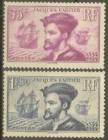 "FRANCE STAMP TIMBRE N° 296/297 "" CARTIER, BATEAU, CANADA 1934 "" NEUF xx TB B468"