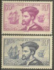 "FRANCE STAMP TIMBRE N° 296/297 "" CARTIER, BATEAU, CANADA 1934 "" NEUF xx TB B465"