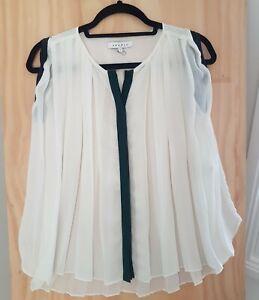 Sandro Paris White Silk Top Blouse - Size 1 S Small