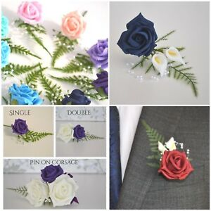 Wedding CORSAGE Buttonholes. Choose colour rose. Choose With/without Calla lily