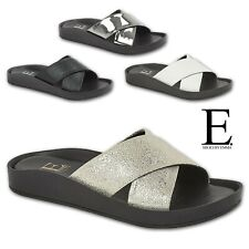 Ladies Cross Over Sandals Womens Slip On Slider Wedge Mule Flip Flops Slipper