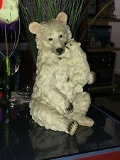 Polar Bear & baby Cub / Resin . Tall 15� x wide D. 10� inches