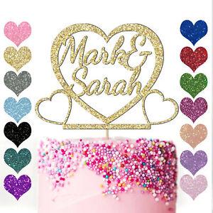 Personalised Heart Cake Topper Glitter Engagement Wedding Anniversary Love
