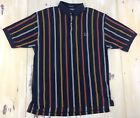 TOMMY HILFIGER: Vtg 90s Mens Color Block Striped Navy Blue S/S Polo Shirt, LARGE