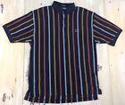 TOMMY HILFIGER: Vtg 90s Mens Color Block Striped Navy Blue S/S Polo Shirt, LARGE
