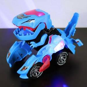Kids Transforming Dinosaur LED Car T-Rex Toys With Light Sound Boys Toy Gift UK