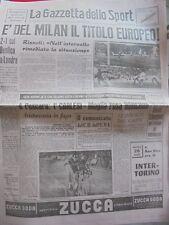 GAZZETTA DELLO SPORT 23-5-1963 MILAN CAMPIONE D'EUROPA MILAN-BENFICA 2-1