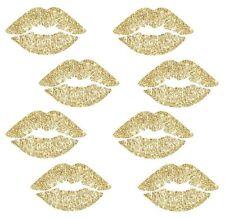 GOLD GLITTER LIPS 8 BiG Wall Decals Kiss Glittery Room Decor Stickers Decoration