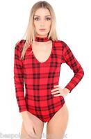 Ladies Women's Long Sleeve High Neck Choker Keyhole V-Neck Bodysuit Leotard Top