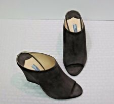 NIB Prada Gray Suede Peep Toe Wedge Slides Heels  6 36  ($420)