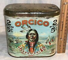 ANTIQUE ORCICO TIN LITHO CIGAR TOBACCO CAN 1919 NATIVE AMERICAN INDIAN BUFFALO
