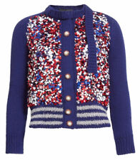 $1600 Marc Jacobs Womens Sequin Embellished Wool Cardigan Sweater Red Blue Sz S