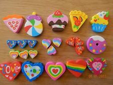 23 Girl themed Erasers Rubbers Party Bag Treat Eraser Novelty Hearts/Cake