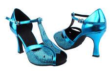 Latin Salsa Very Fine Competitive Dance Shoes SERA2800 Black Gold Blue Scale