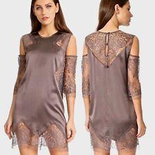 Michelle Mason Size 4 Mocha Silk Blend/ Lace Cold Shoulder Cocktail Shift Dress
