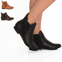 LADIES WOMENS FLAT FAUX LEATHER CHELSEA ANKLE RIDER BOOTIES BOOTS SHOES SIZE 3-8