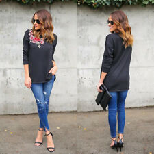Womens Long Sleeve Floral Pullover Long Tops Blouse Casual Cotton T-Shirt Black
