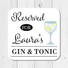 Personalised Name Gin & Tonic Drinks Coaster - Fun Friend Birthday Gift Present
