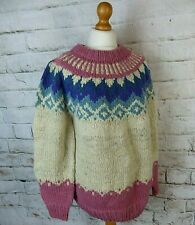 Vintage pink blue cream hand knit chunky lopi wool Nordic fair isle jumper L 16