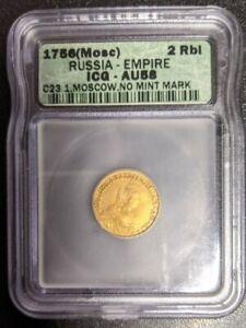 Russia Gold 2 Rubles, 1756 AU58 ICG