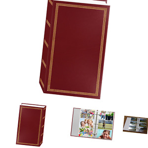 "3-ring pocket BURGUNDY album for 504 photos - 4""X6"" Burgundy Red"