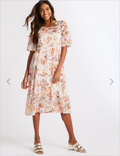 BNWT M&S Collection Neutral Floral Print Lined Chiffon Midi Dress Size 12