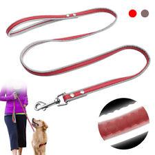 4ft Dog PU Leather Leash Safety Reflective Pet Outdoor Walk Lead Belt Medium Dog