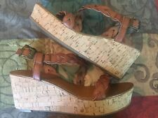 NICOLE BROWN LEATHER SANDALS CORK SWEDGE HEEL SIZE 8