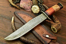 Custom Hand Made Damascus Steel Blade Hunting Knife | Hard & Olive Wood