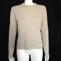 MAGASCHONI CASHMERE Cable Knit Sweater Light Brown Crewneck Women's Small - 6863