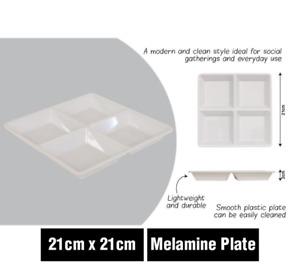WHITE MELAMINE SERVING PLATTER CHIP & DIP 4 SECTION TRAY KITCHEN CARAVAN PARTS