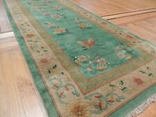 Antique 3x11 Chinese Art Deco Runner Area Rug Green Floral Wreath