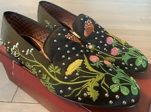 1,200$ Bally Barrymore Silk Flowers Loafers Size US 11.5 Made in Switzerland