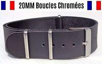 NATO ★ 20MM ★ N°77 simili cuir ★ Bracelet montre Watch Band Strap Nylon BOND 007