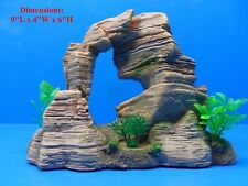 MOUNTAIN ROCK CLIFF w/ CAVES & PLANTS MY010 AQUARIUM DECOR TANK RESIN ORNAMENT