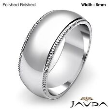 8mm Men Wedding Band Dome Milgrain Edge High Polish Ring Platinum 18.5g 12-12.75