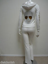 Christian Audigier Velour Tracksuit Hoodie Jog Set SJ1071 Ecru White Skeleton L
