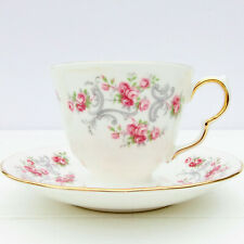 More details for vintage royal osborne bone china pink roses ditsy tea cup saucer duo