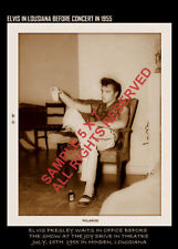ELVIS PRESLEY  in 1955 before big fame relaxing before show at drive in theater