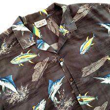Pacific Legend Hawaiian Aloha Camp Shirt Fish Boats Gray 3XL
