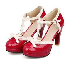 2016 New Chic Womens t-strap Pumps Sweet Court Plus Size Low Heel Platform Shoes