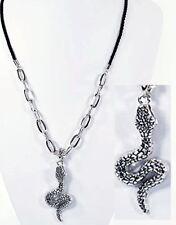 Collier style gothique SERPENT en acier, Cordon, chaîne bijoux fantaisie neuf.