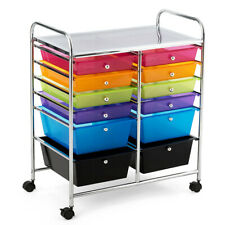 12 Drawers Rolling Cart Storage Multicolor Scrapbook Paper Studio Organizer Bins