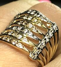 GOLD Multi ring semanario Wide stack 10k tri simulated Diamond 8  6 7 9 10 5.3g